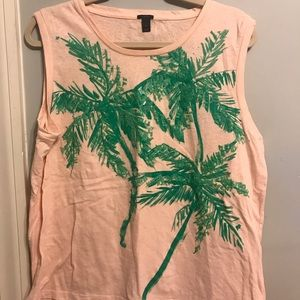 J.Crew Pink Palm Sleeveless Tee